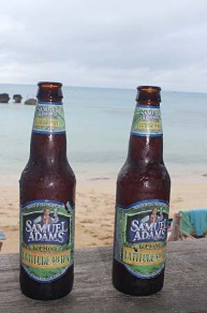 Sam Adams on the beach